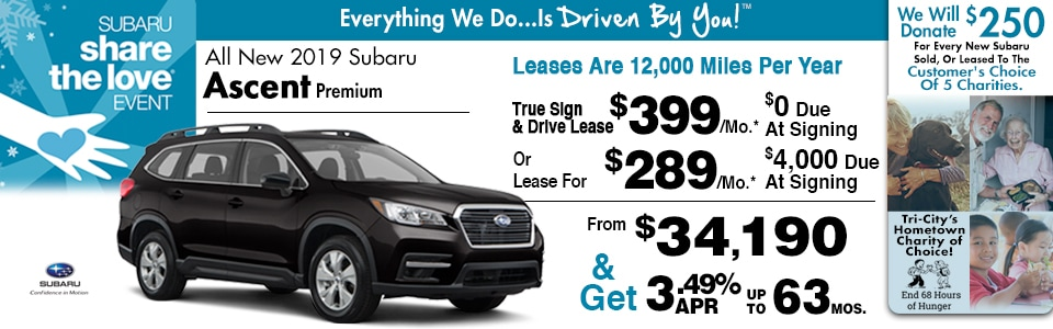 2019 Subaru Ascent Lease Special at Tri-City Subaru