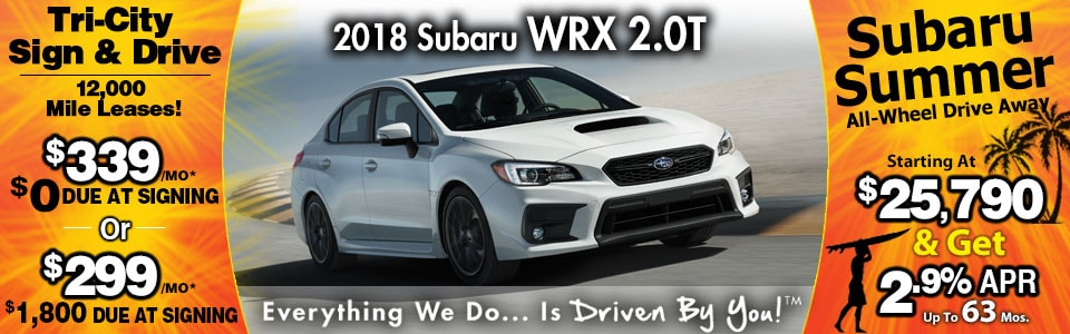2018 Subaru WRX 2.0T Lease Special at Tri-City Subaru