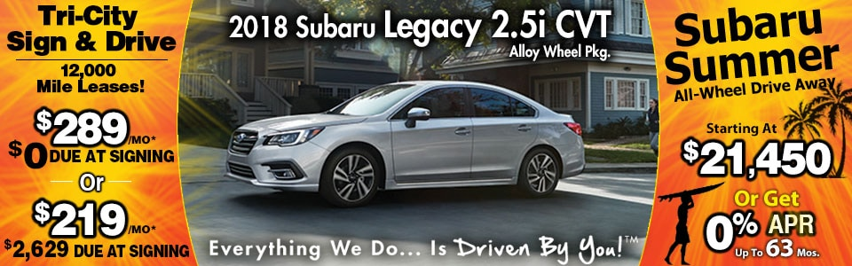 2018 Subaru Legacy 2.5i CVT Lease Special at Tri-City Subaru