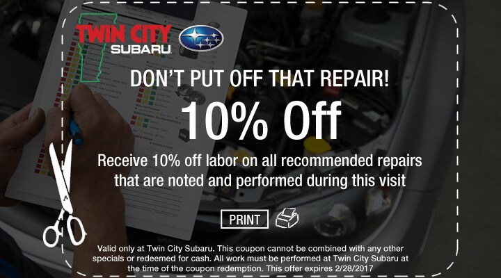 10% Off Subaru Labor Rate Coupon