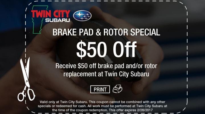 Subaru Brake Pad and Rotor Coupon