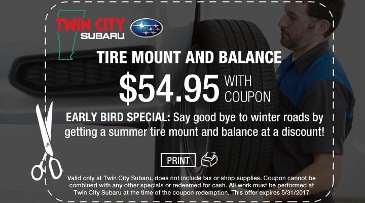 Subaru Tire Mount and Balance Coupon