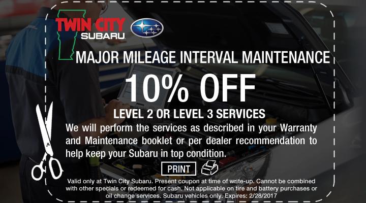 10% Off Subaru Level 2 or Level 3 Service Coupon