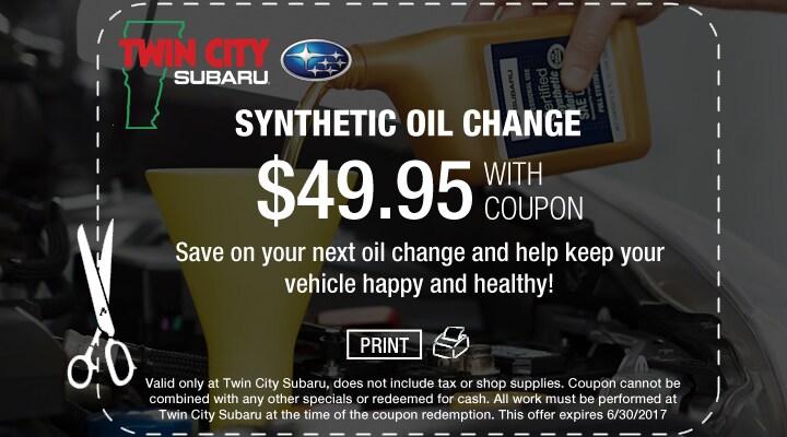 Subaru Synthetic Oil Change Coupon