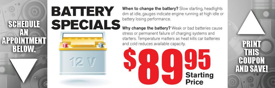 Money Saving Auto Service Coupon from Texas Toyota of Grapevine TX for Battery Specials