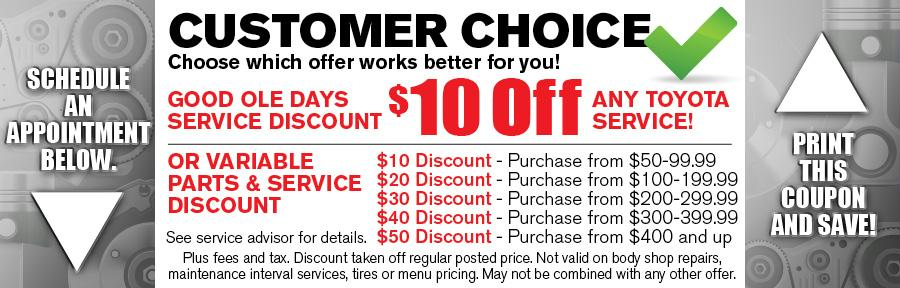 Money Saving Auto Service Coupon from Texas Toyota of Grapevine TX for Savings on Any Service