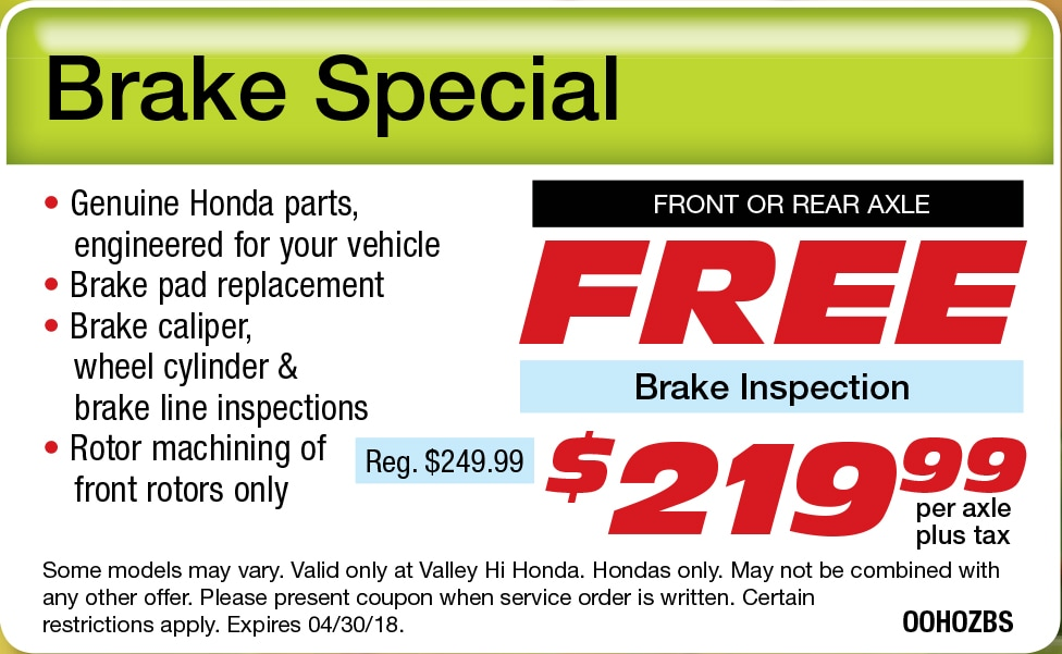 Service department special offers at valley hi honda for Valley hi honda 15710 valley park ln victorville ca 92394