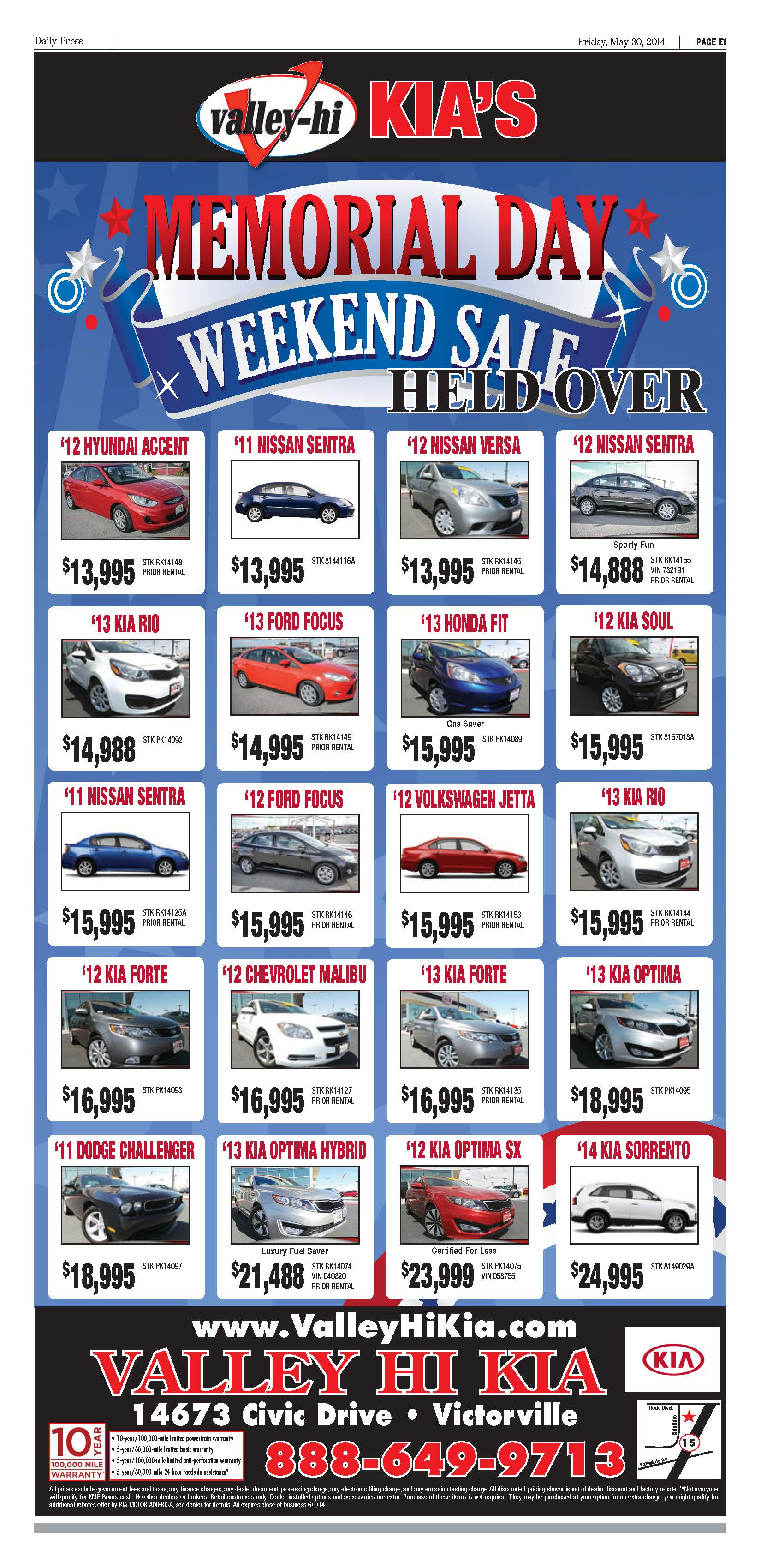 memorial day sale at valley hi kia dealer in victorville ca serving