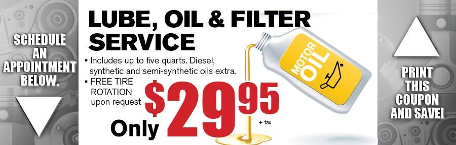 Van chevrolet oil change coupon