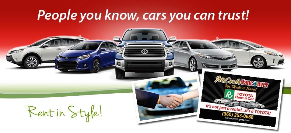 Enterprise Rental Car Portland Airport >> Rent A Car Vancouver WA | Toyota Car Rental | Vancouver Toyota