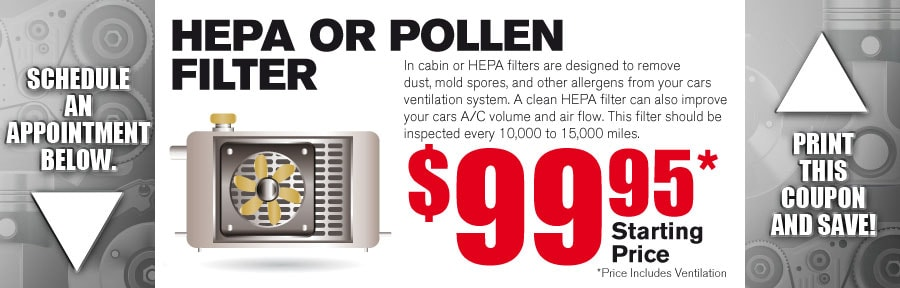 Money Saving Auto Service Coupon from Volvo of Dallas for Hepa or Pollen Filter