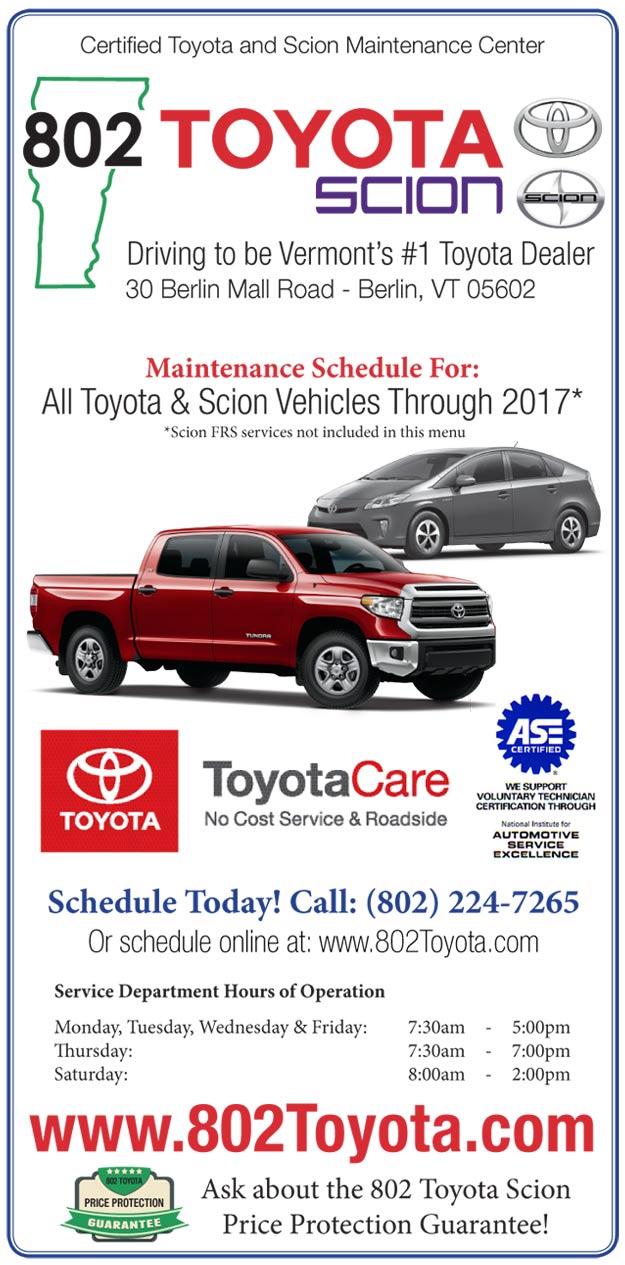 802 Toyota Service Menu 2016-2017 Page 1
