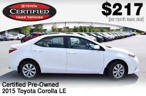 toyota Corolla certified used lease deal
