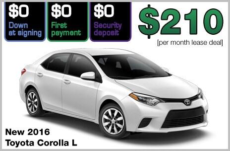 Toyota Corolla Zero Down Lease Deal