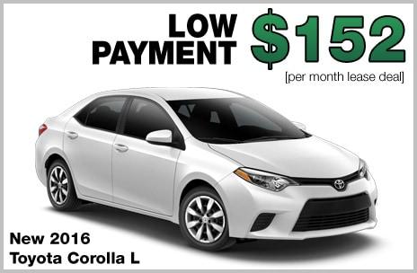 Toyota Corolla Money Down Lease Deal