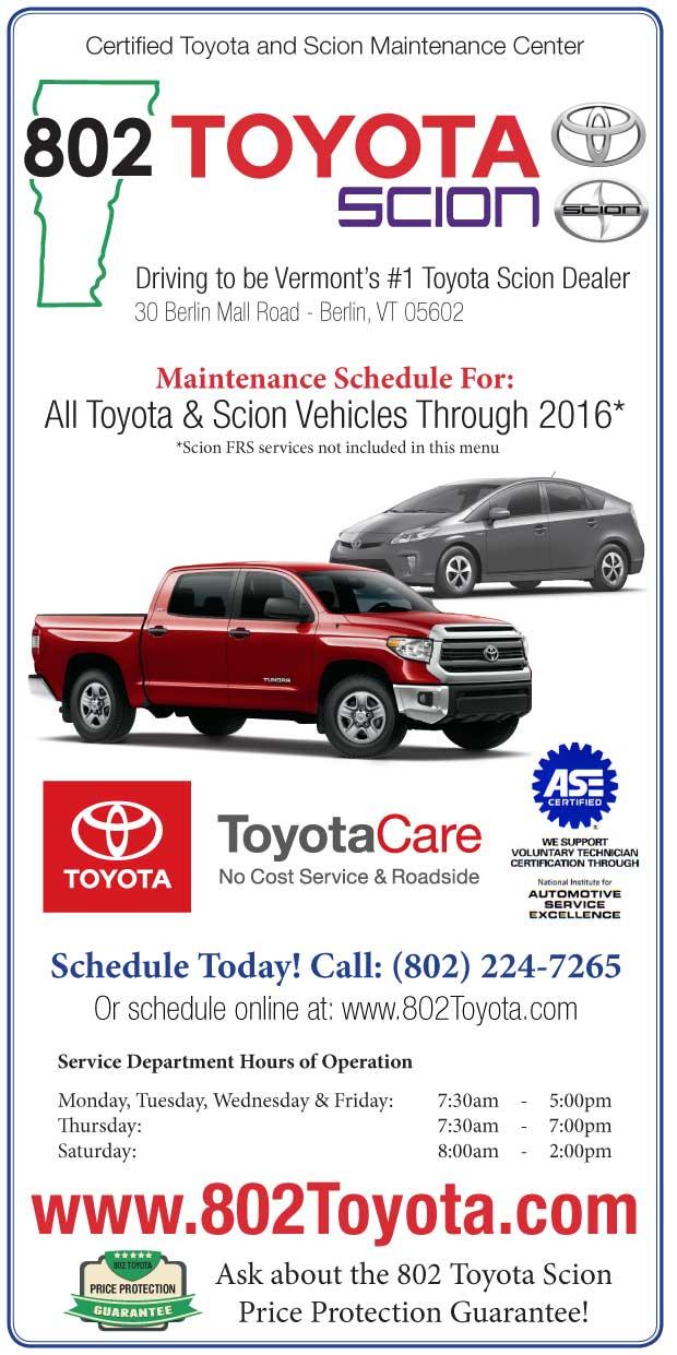 toyota vehicle maintenance schedules 802 toyota service