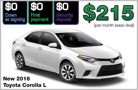 Toyota Corolla Zero Down Lease Deal