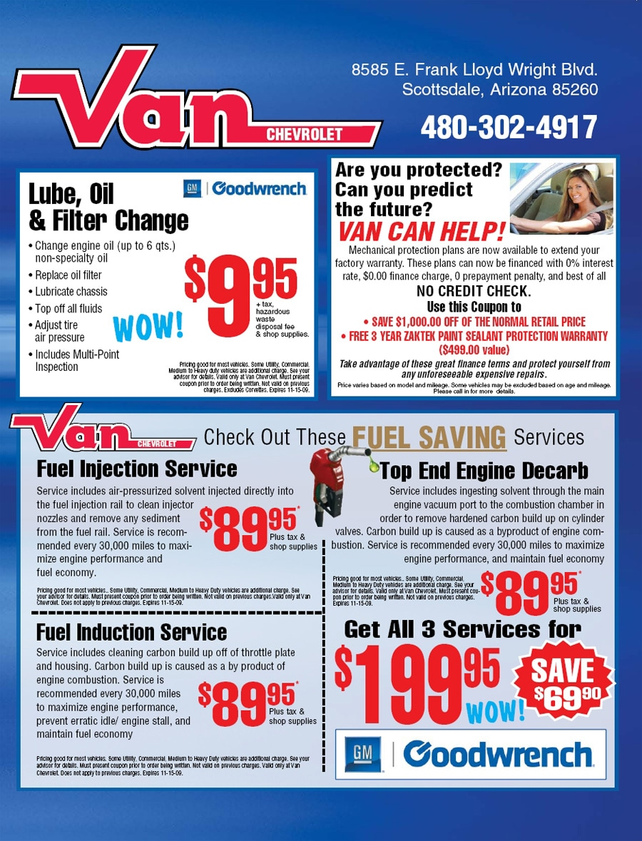 Chevy dealership service coupons