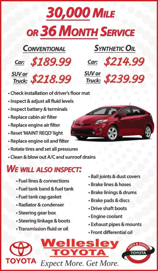 Toyota Service Menu | Toyota Scheduled Service