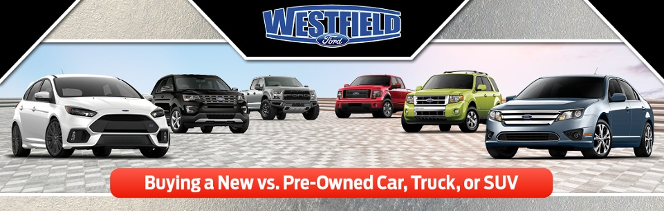Buying New vs. Used banner featuring various Ford models