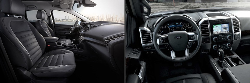 Image of the interiors of Ford trucks and SUVs