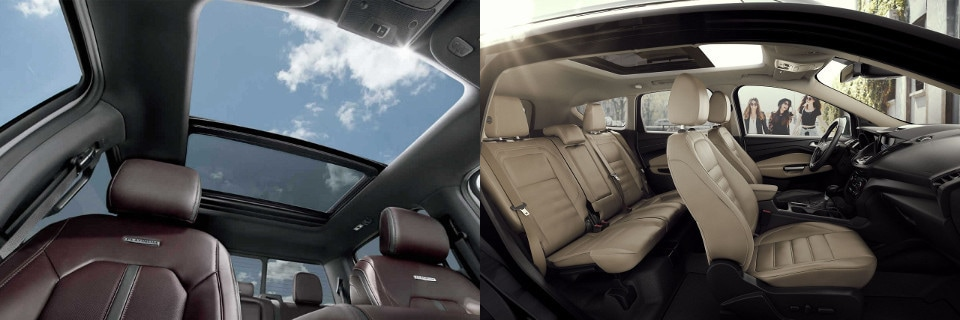 Image of a Ford F-150 and Ford Escape interior comparison