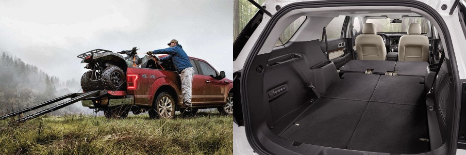 Two images comparing the cargo capacity of a Ford F-150 and Ford Escape