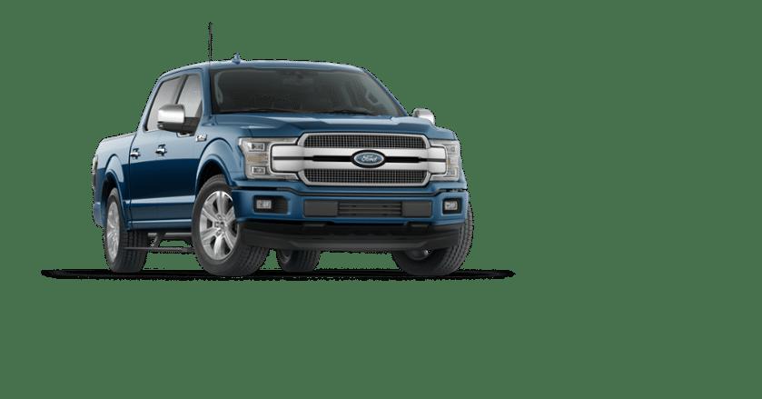 A Blue  Ford F  Platinum