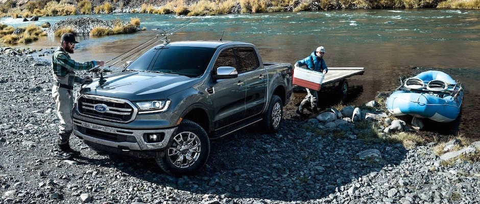 Two men taking their Ford Ranger on a fishing trip