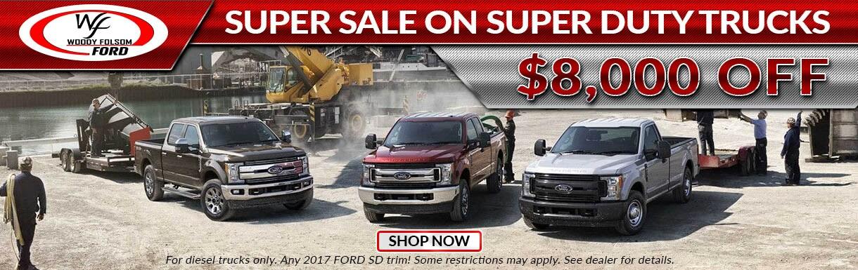 All ford super duty trucks on sale woody folsom ford in for Woody folsom