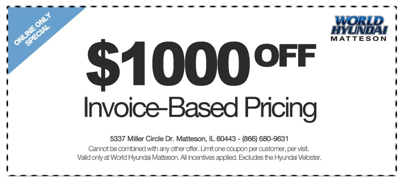 get invoice based pricing at world hyundai in the matteson auto mall. Black Bedroom Furniture Sets. Home Design Ideas