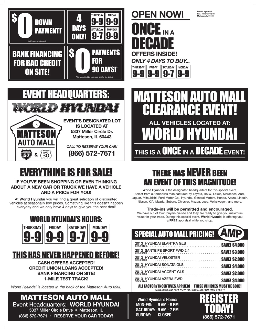 Matteson Auto Mall Clearance Sales Event - Chicago Cheap Cars for Sale