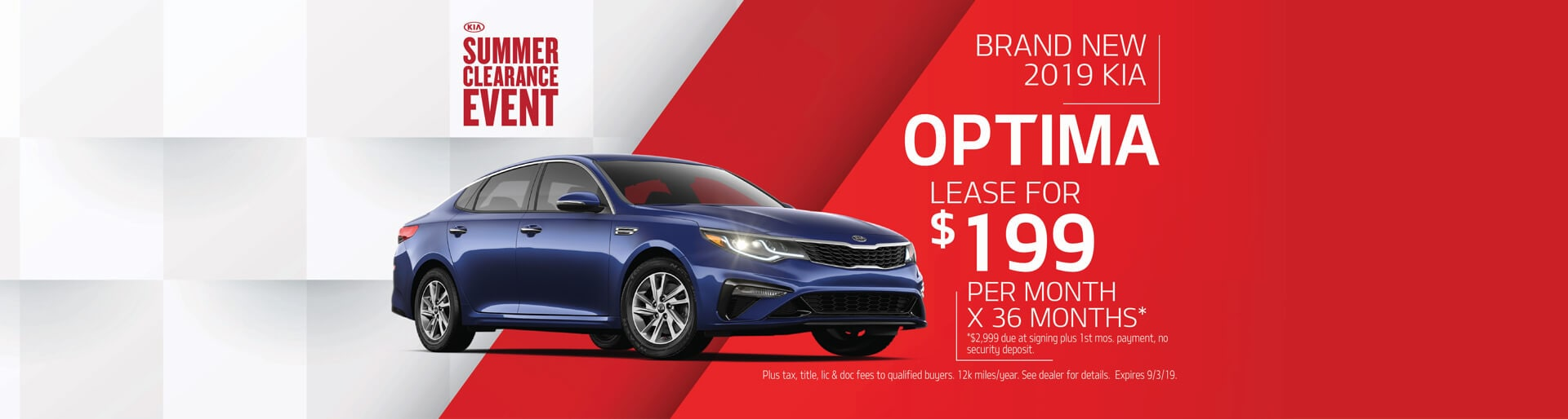 Lease a 2019 Kia Optima for $199/mo. for 36 mos.