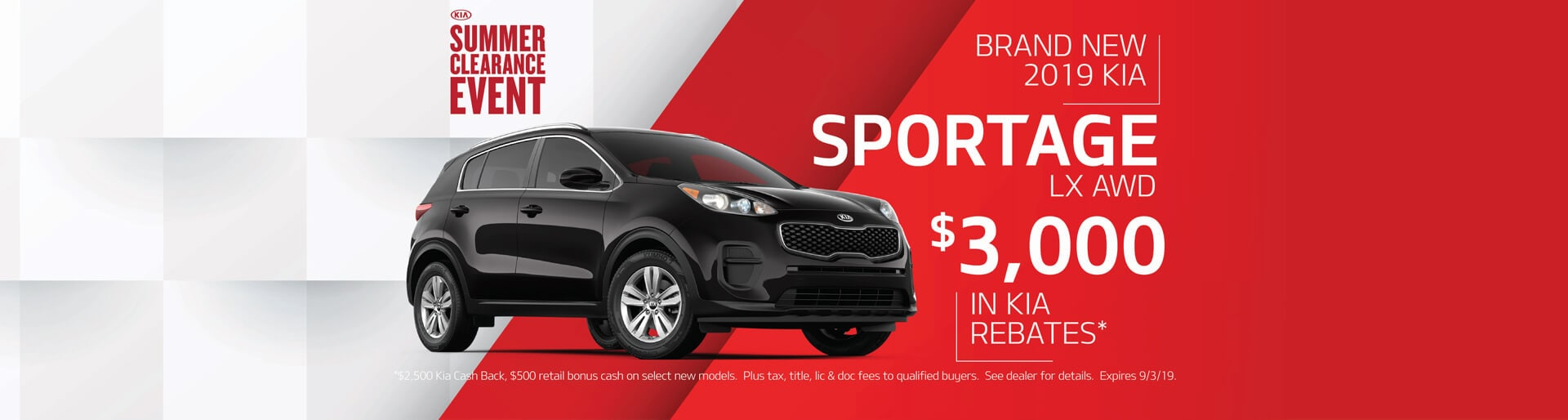 Get $3000 in Kia rebates when buying a 2019 Kia Sportage LX