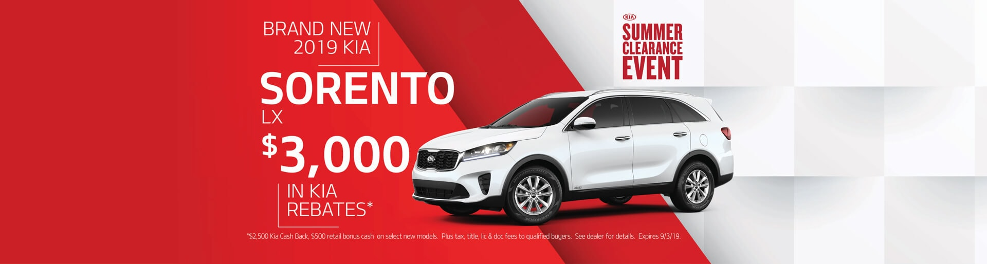 Get $3000 in Kia rebates when buying a 2019 Kia Sorento LX