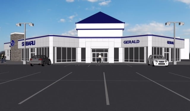 Rendering of the New Gerald Subaru of North Aurora dealership location