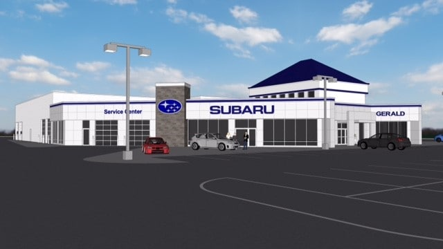 Side view of rendering of the New Gerald Subaru of North Aurora dealership location