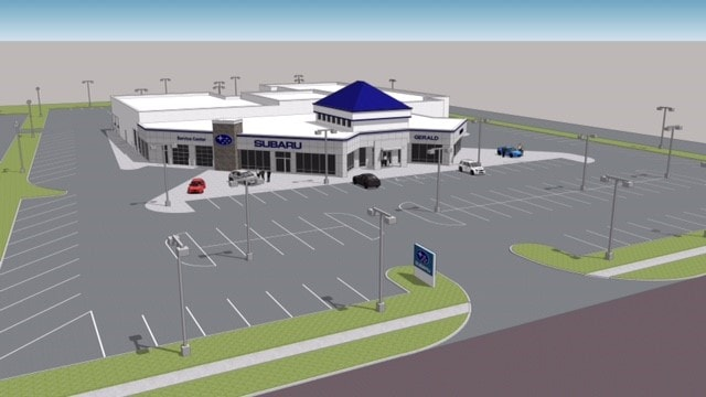 Rendering of the new Gerald Subaru of North Aurora vehicle dealership