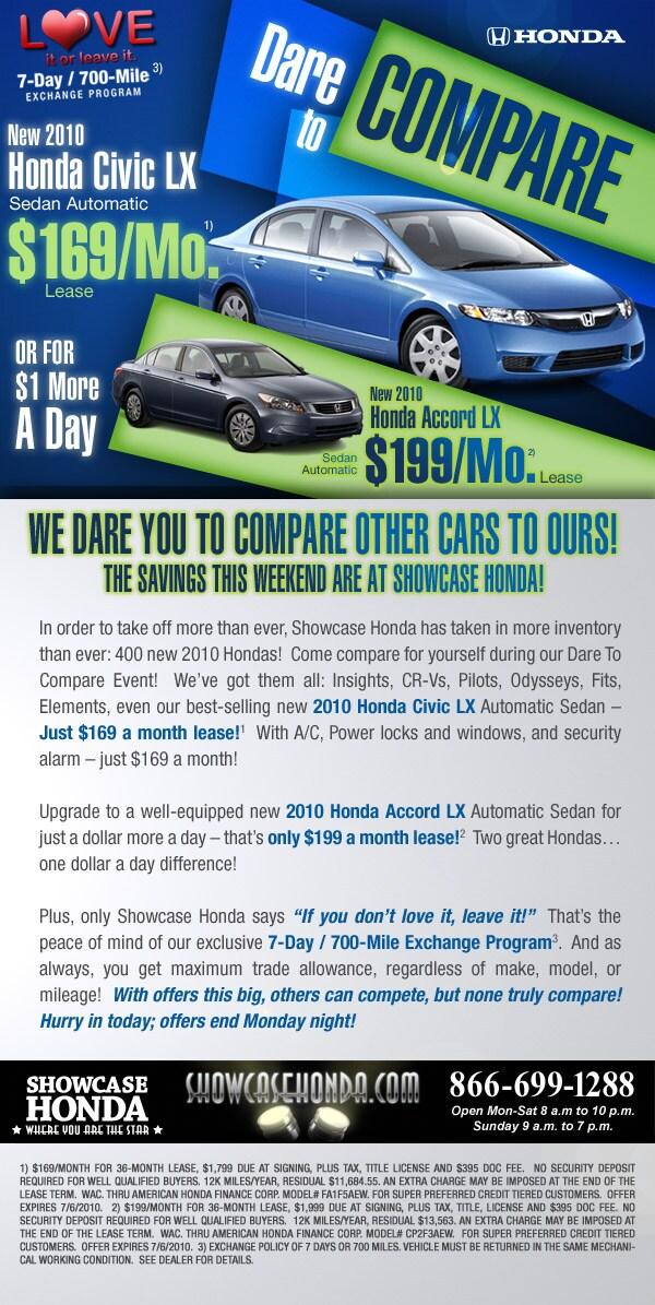 Dare To Compare Honda Specials