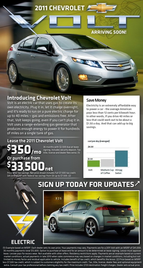 New 2011 Volt Chevy Electric Car Midway Chevy Phoenix Arizona