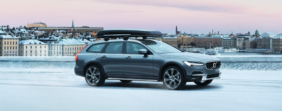 2018 Volvo V90 Cross Country driving on a snow covered road