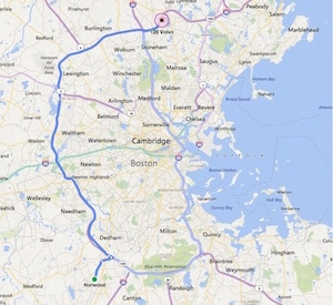 driving directions from Norwood, MA to 128 Volvo