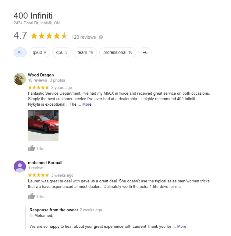Car Dealership Reviews - 400 INFINITI