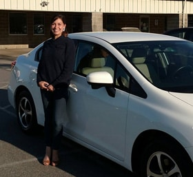 Megan and her new Honda Civic