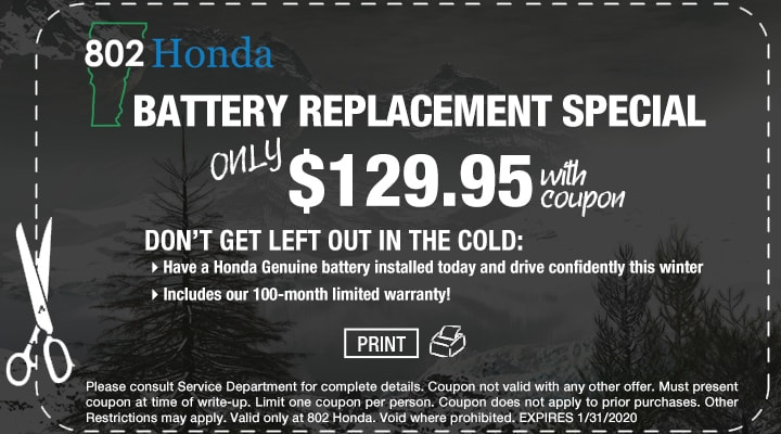 802 Honda Battery Replacement Coupon