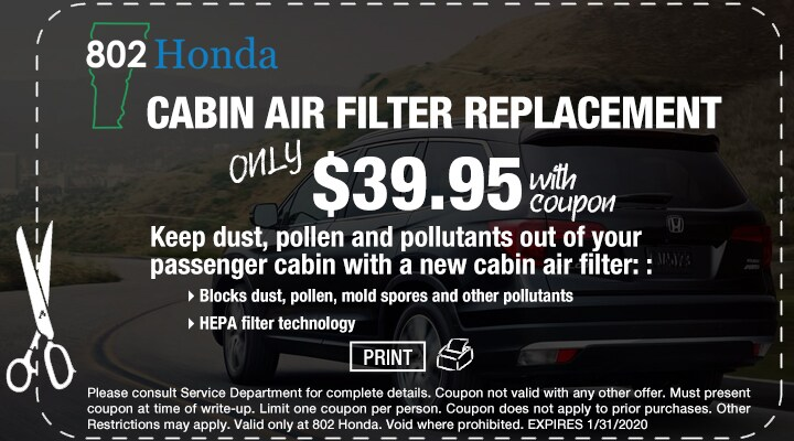 802 Cabin Air Filter Replacement Coupon
