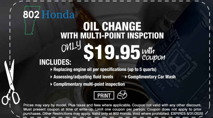 802 Honda Cabin and Engine Air Filter Replacement Coupon