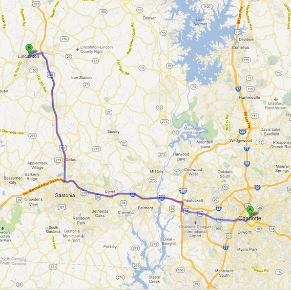 Directions to Abernethy CJDR in Lincolnton from Charlotte, NC