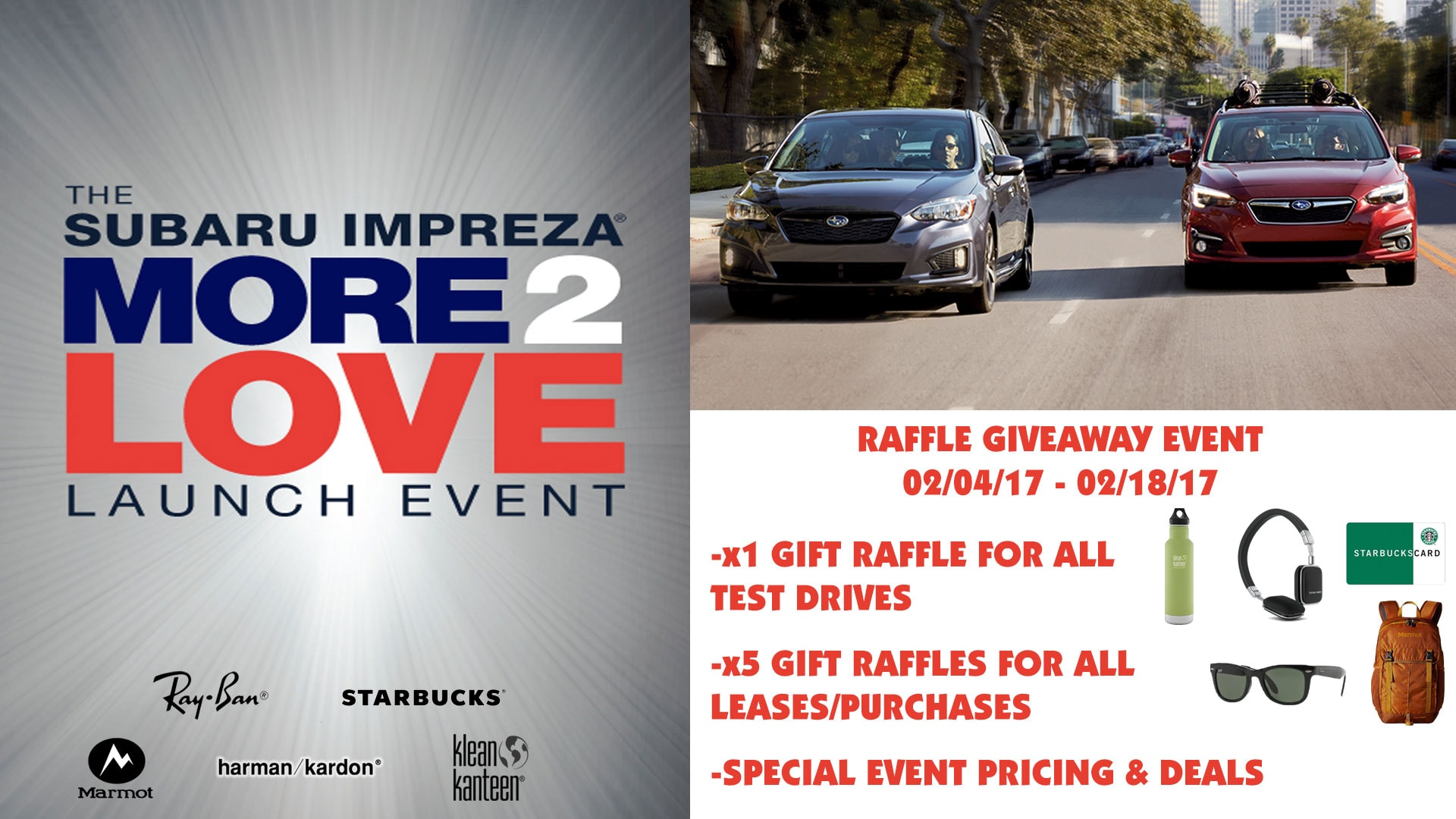 subaru impreza more 2 love launch event all american subaru. Black Bedroom Furniture Sets. Home Design Ideas
