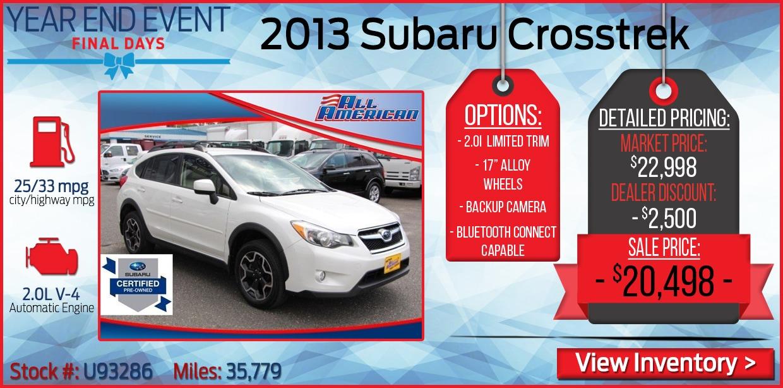 Specials On Certified Used Subaru Certified Used Subaru For Sale
